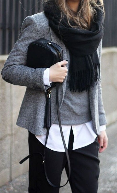 fall layers. grey blazer. knit. white shirt. black trousers. scarf.