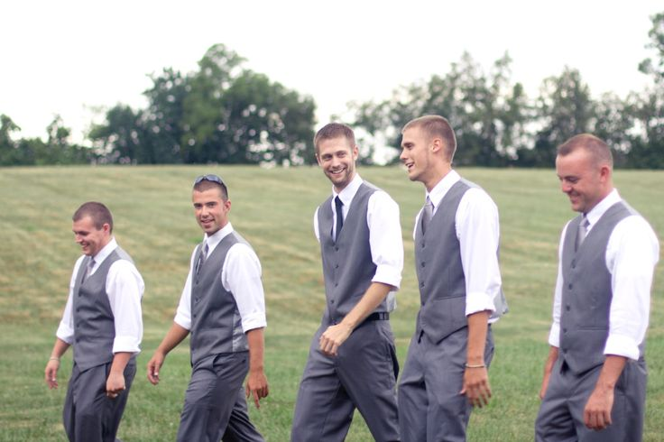 Bridal party attire, groomsmen vests, gray groomsmen suits, groomsmen ideas, barn wedding
