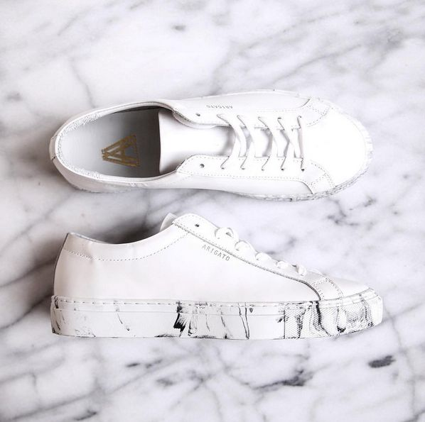White leather sneakers with a white marble sole www.axelarigato.com #axelarigato