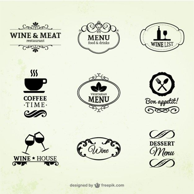 ヴィンテージワイン、レストランとコーヒーのラベル