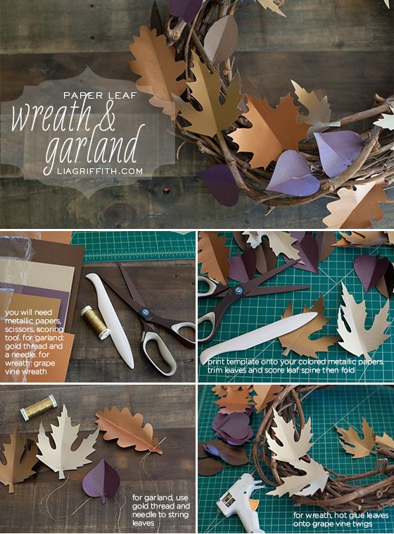 Make This Paper Leaf Wreath & Garland for Fall & Paper Leaf Tutorial