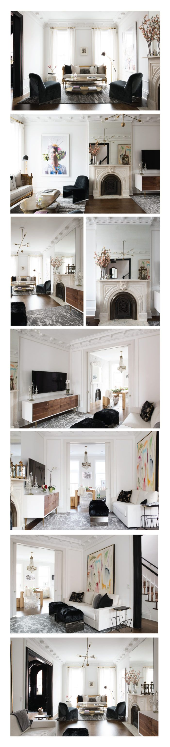 Pinned for layout: fireplace in middle of room almost as room divider - could work for us
