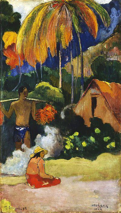 Landscape In Tahiti.mahana Maa  Paul Gauguin