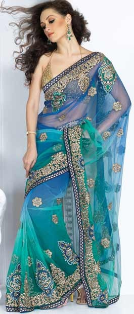 Blue Net Saree with Blouse    Itemcode: SSX912     Price: US$ 118.34    Click @ http://www.utsavfashion.com/store/sarees-large.aspx?icode=ssx912