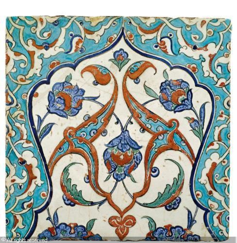 IZNIK CERAMIC, 16 > (Turkey) Title : TILE Date : ca 1580 TILE sold by Sotheby's, London, on Tuesday, April 24, 2012