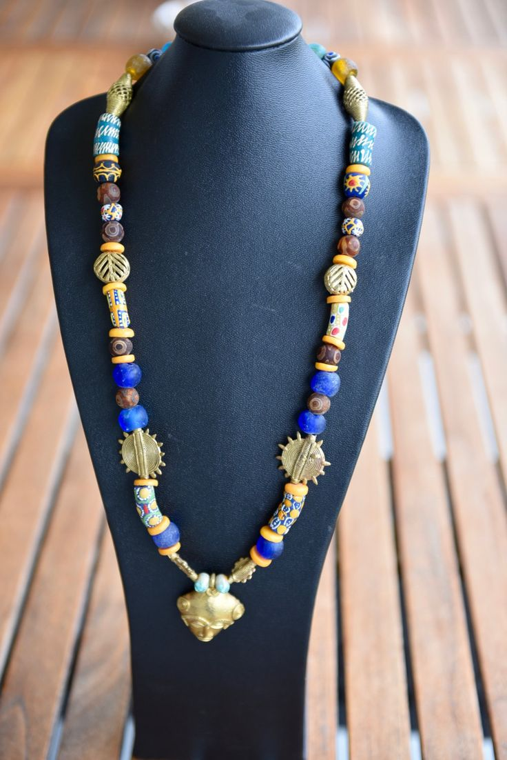 Gorgeous necklace made with African beads, a beautiful gift for someone you love! by Arunasworld on Etsy