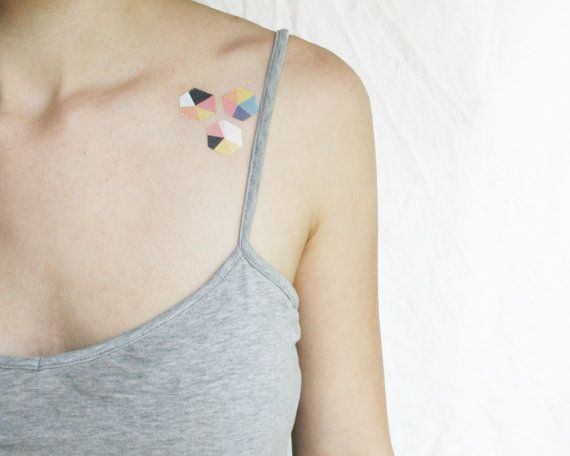 tiny geometric pastel hexagons, sweet temporary tattoos in a pack of 3 or 8. Wear alone or in a little group, share with a friend or keep them all to yourself! By Pepper Ink's new contributing artist, Sarah Johnson.