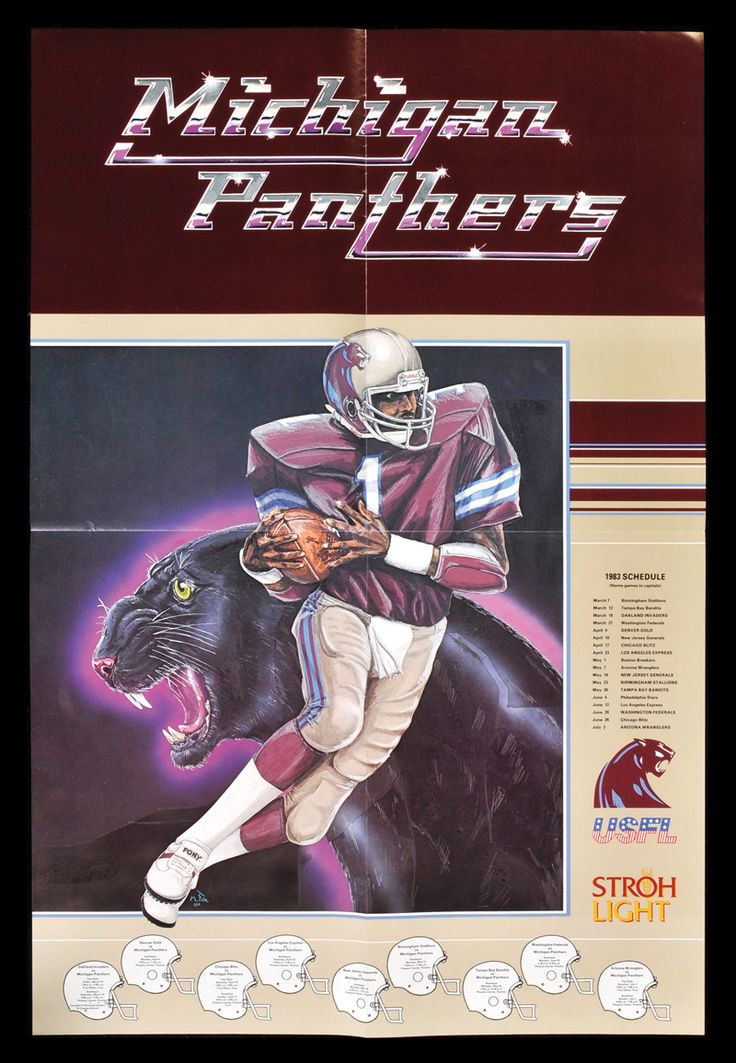 USFL Michigan Panthers. WR Anthony Carter pictured