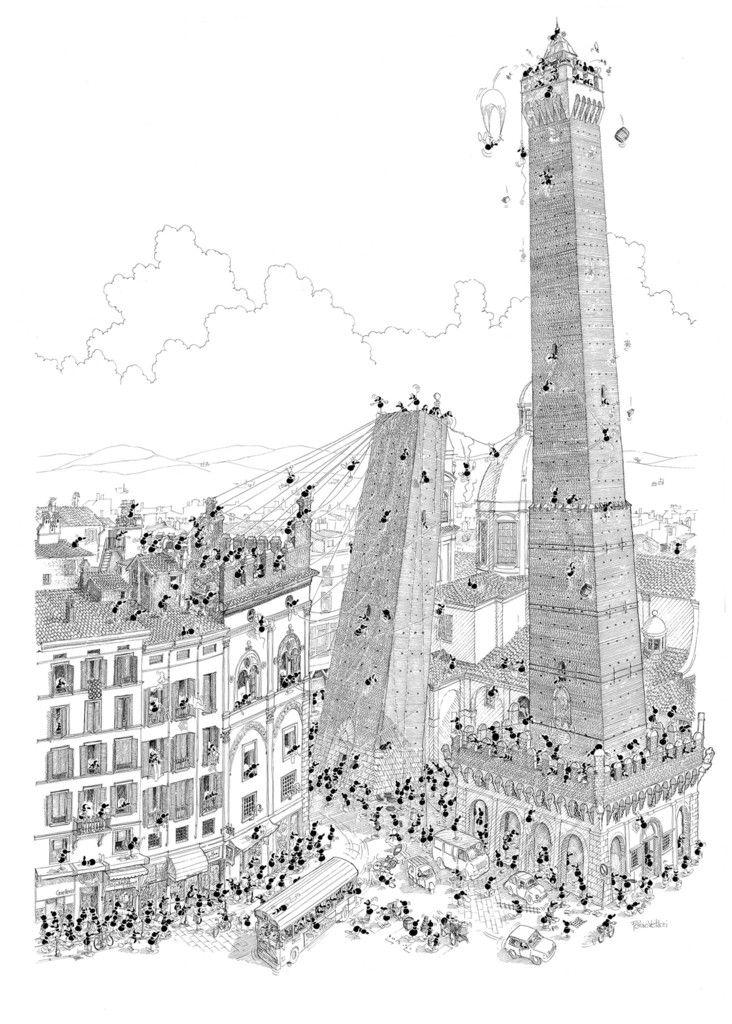 """Poster """"Bologna"""" 50x70cm   Le Formiche di Fabio Vettori"""