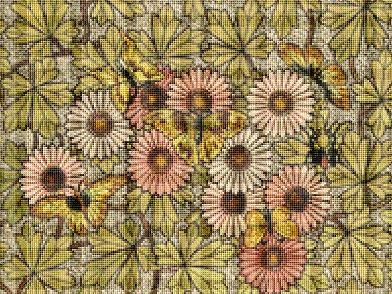 Flowers & Butterflies Mosaic Counted Cross Stitch Pattern / Chart,  Instant Digital Download   (AP357)