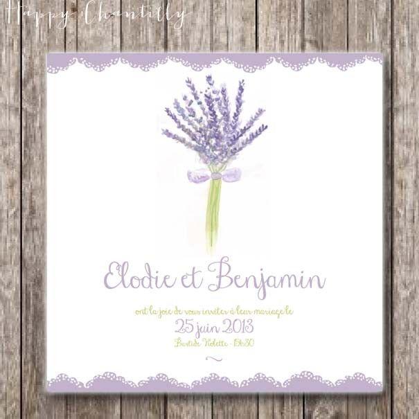 Faire-part bouquet de lavande - Aquarelle via happychantilly. Click on the image to see more!