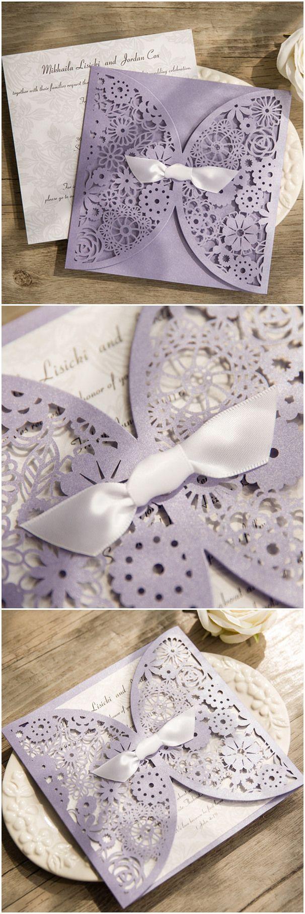 Light Purple Floral Laser Cut Wedding Invitation With White Ribbon Bow EWWS125