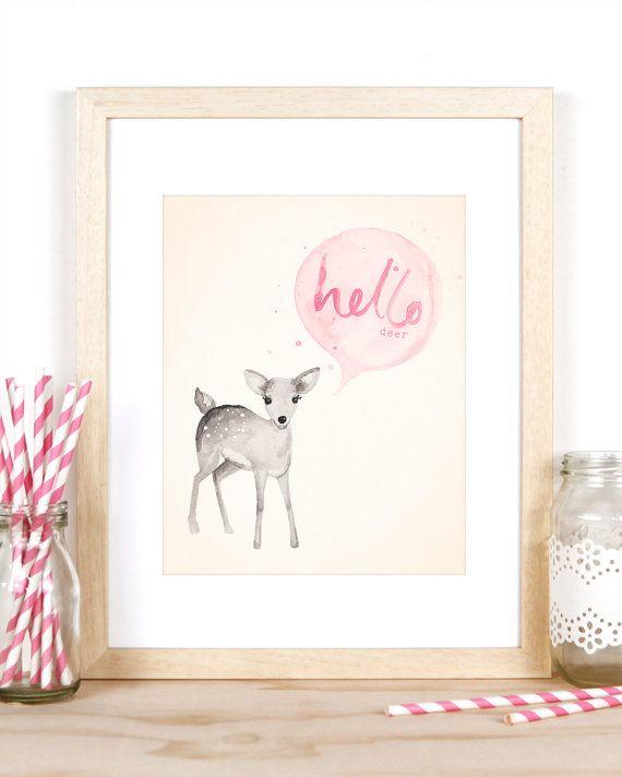 Baby Girl Nursery Decor 'Hello Deer' Print 8x10 by BillyandScarlet