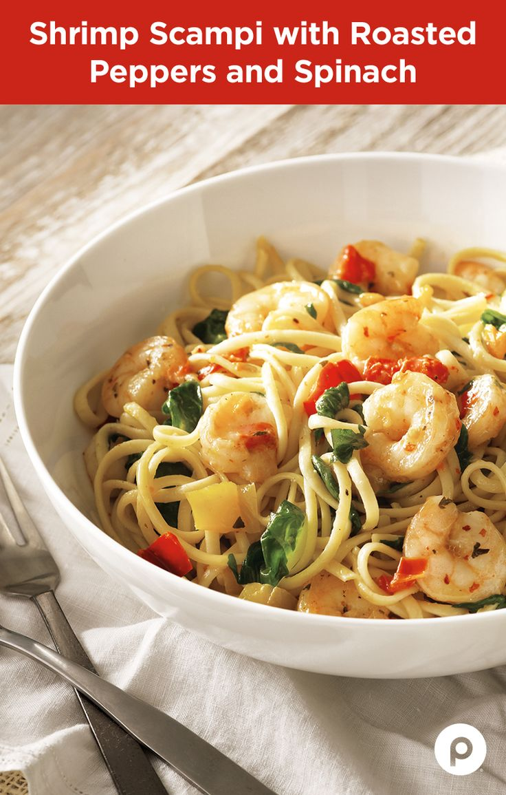 Some recipes are easy, and some are really, really easy. The Shrimp Scampi with Roasted Peppers and Spinach from Publix Aprons is one of those recipes. Give your brain the night off and enjoy the scrumptious simplicity of linguini pasta, roasted red peppers, peeled shrimp, and baby spinach. This recipe takes only 20 minutes to make. If you didn't stop to read all this, the cooking would be almost finished.
