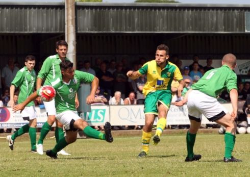 Tony Andreu of Norwich City scores his side's third goal during the 7-0 pre-season friendly win at Emerald Park, Gorleston.  Picture by Paul Chesterton/Focus Images Ltd