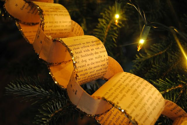 Vintage book paper chain. I would use Christmas music sheets