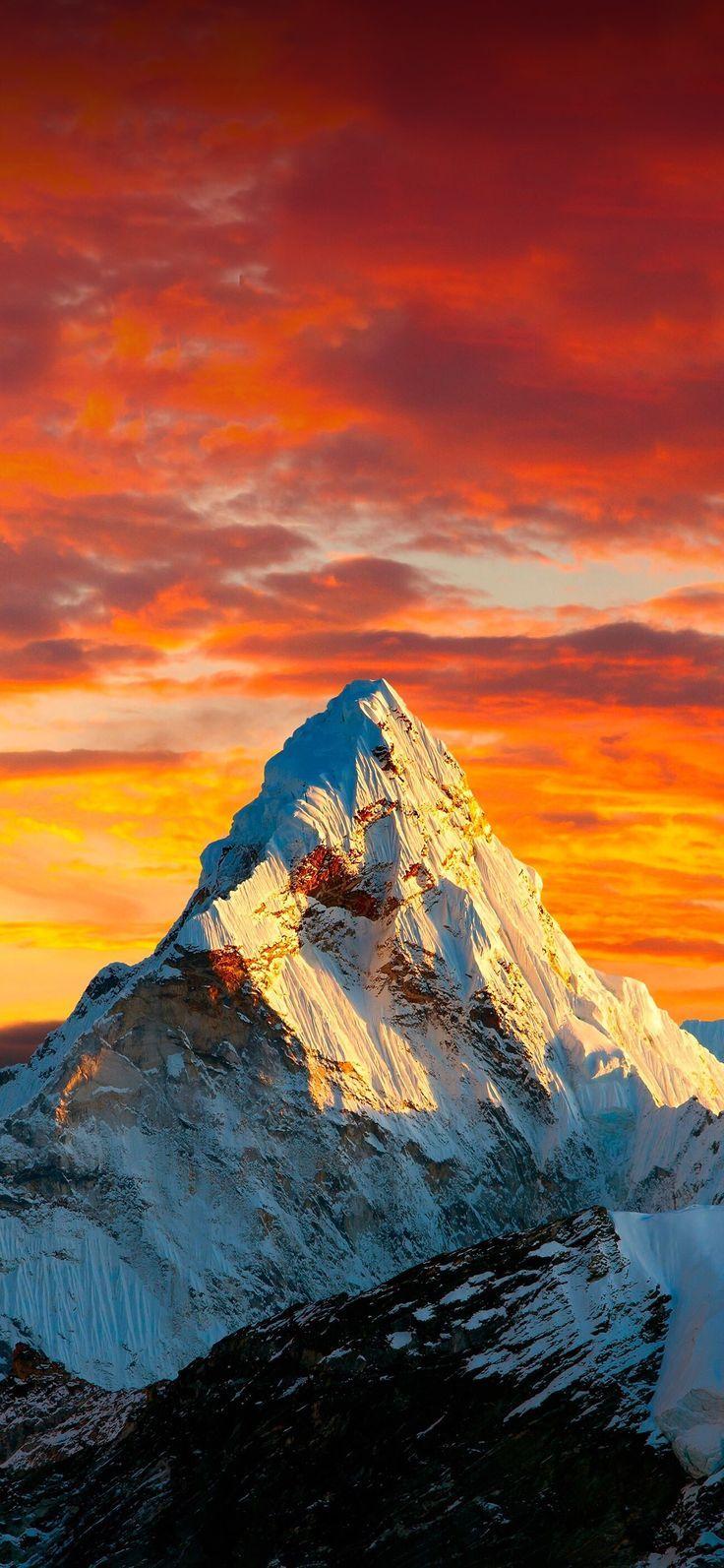 Mountain Orange Sky Beautiful Wallpapers Mountain Wallpaper Nature Wallpaper