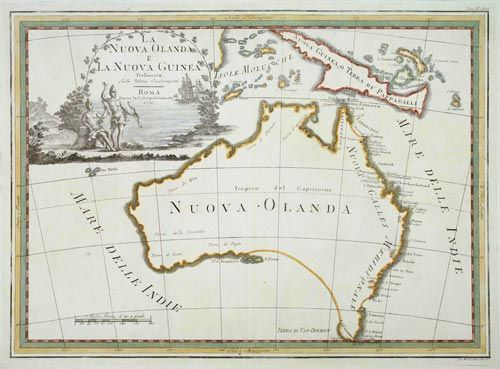 La Nuova Olanda e la Nuova Guinea. Rome, 1798. Coloured. 365 x 490mm. Australia and New Guinea, from the 'Nuovo Atlante Geografico Universale'. The emphasis of the map is the charting of Captain Cook down the east coast: most of the marked features are those named by Cook and his crew betwen the Torres Strait and Tasmania, which is shown as part of the mainland. The title is within a decorative title cartouche with two aboriginies, one of whom strangely carries a bow.