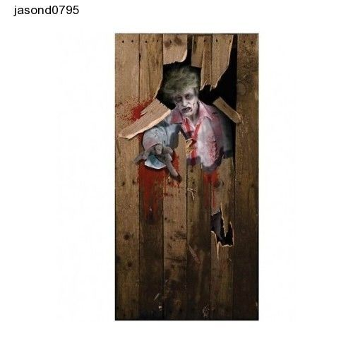 Halloween zombie scary  DOOR POSTER fancy dress decoration 6ft x 3ft free ship
