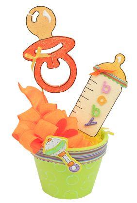 Maceta para centro de mesa con chupón y biberón/mamila en color anaranjado y verde / Baby Shower