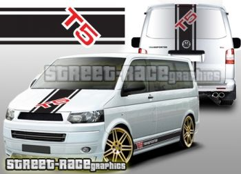 VW Transporter T5 side, bonnet and tailgate racing stripes