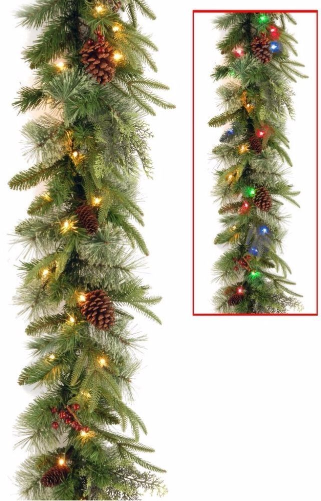 Battery Operated Garland with 50 Dual Color LED Lights Christmas Decor 9 Feet #ChristmasGarland #Wreaths #Garland #Artificial #BatteryOperated #LEDLights #DualColor #HangingDecor #Christmas #ChristmasDecor #Holiday #Seasonal #HomeDecor #9Feet