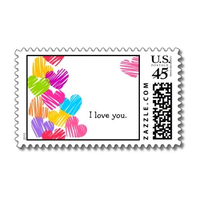 "Vibrant Hearts ""I love you"" Postage"