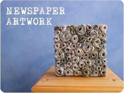 Great tutorial for recycle art from this blog : http://www.craftedblog.com/2011/04/how-to-newspaper-canvas-artwork.html
