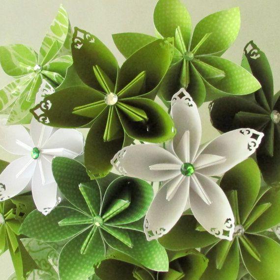 Lime Green Bridal Flowers : Spring green wedding bouquet paper flower