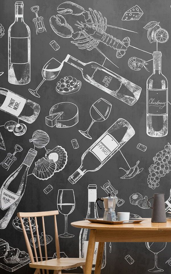 Food And Wine Chalkboard Wallpaper Mural White Dining Room Decor