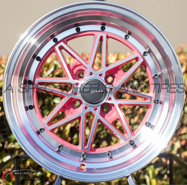 15X8 AVID.1 WHEELS AV-07 4X100 +15MM PINK FITS ACURA INTEGRA HONDA ACCORD CRX