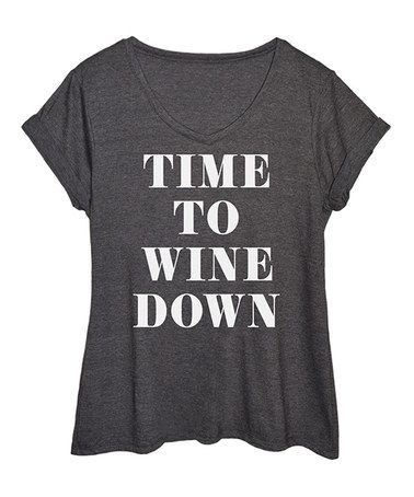 This Heather Charcoal 'Wine Down' V-Neck Tee - Plus is perfect! #zulilyfinds