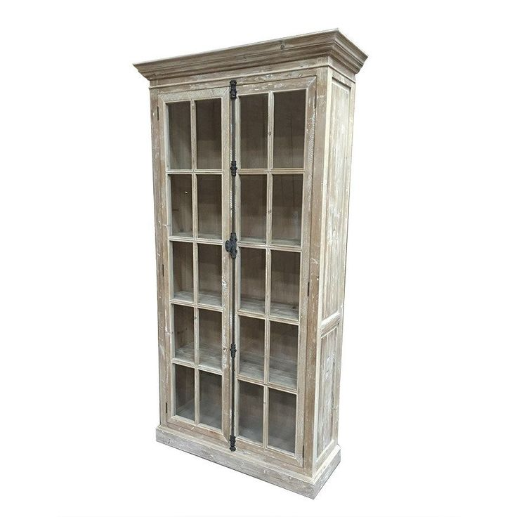 French Country White Wash Reclaimed Wood Cabinet Display Curio/Bookcase,85.5''H. #Unbranded #FrenchCountry