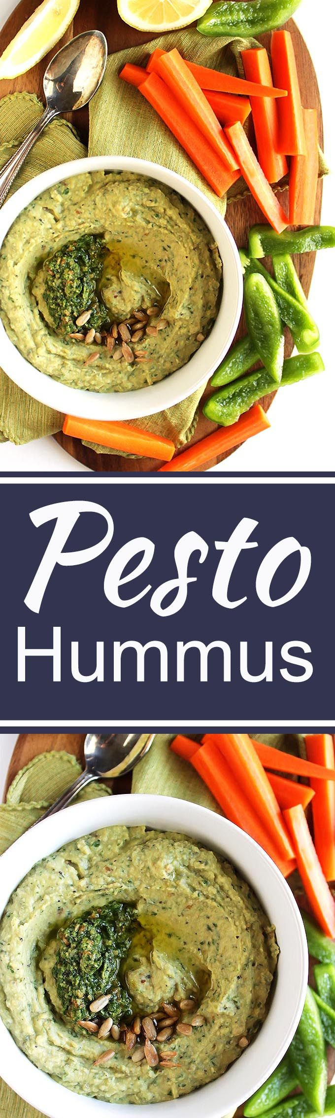 Pesto Hummus - Creamy hummus combined with fresh, zesty basil. This recipe is EASY to make and healthy to eat! Serve with veggies or crackers! Vegetarian/ Gluten Free.