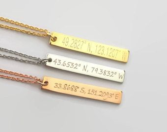 Coordinates necklace custom gps necklace anniversary gift long distance relationship personalized jewelry gold bar necklace engraved jewelry