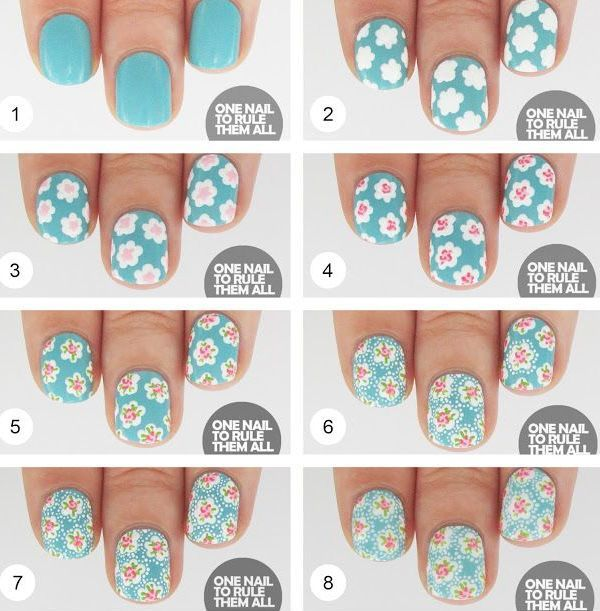 One Nail To Rule Them All Then And Now Cath Kidston Tutorial Fl Polka Dot Blue