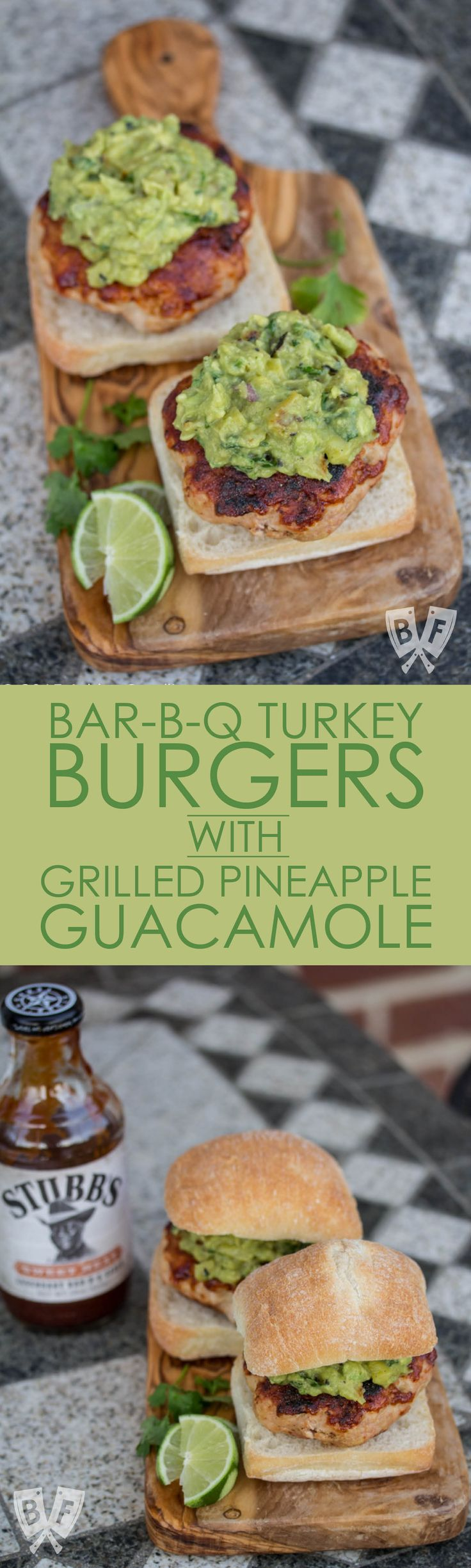 Bar-B-Q Turkey Burgers with Grilled Pineapple Guacamole: Grilled pineapple-studded guacamole is piled on top of these turkey burgers that have been brushed with a sweet-and-spicy bar-b-q sauce. #ad