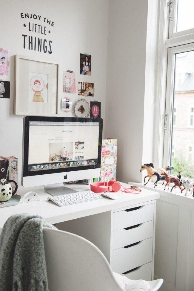 Para copiar: home office teen com decoração neutra