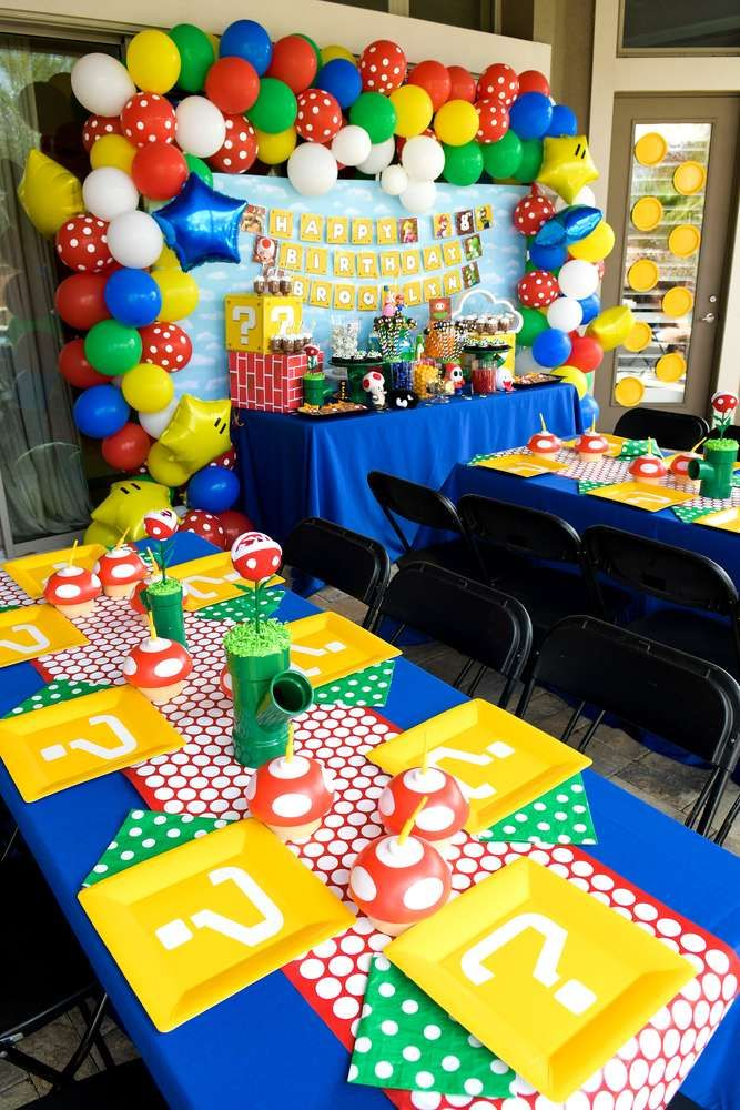 The table settings at this Super Mario Birthday Party are so cool! See more part…