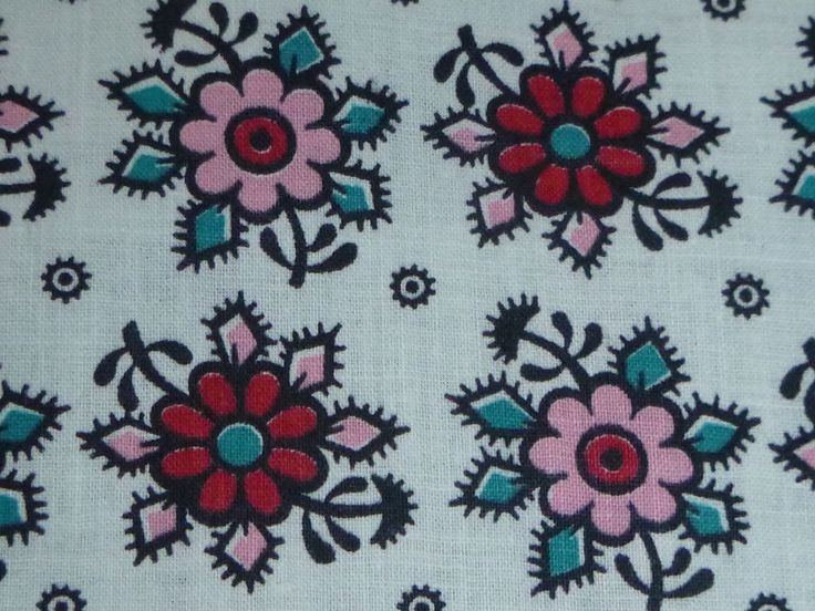 """Vtg Pink Red Turquoise Floral Cotton Fabric Lightweight 36"""" W x 56"""" L"""