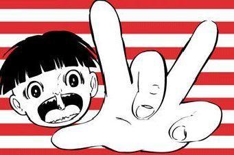hanatare-kozo (snot-nosed kid) by Kazuo Umezu manga work:はな垂れ小僧(楳図かずおさんの「まことちゃん」より)