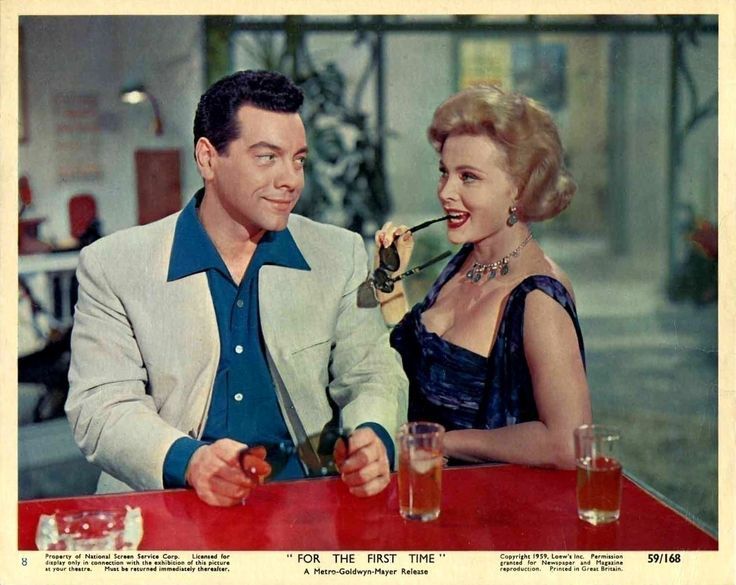 """Mario Lanza and Zsa-Zsa Gabor - Lobby card for Rudolph Matè's """"For the First Time"""" (1959)."""