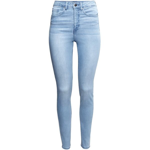 H&M Trousers High waist ($14) ❤ liked on Polyvore featuring jeans, pants, bottoms, calças, light denim blue, high rise skinny jeans, high rise jeans, highwaisted jeans, h&m and blue skinny jeans