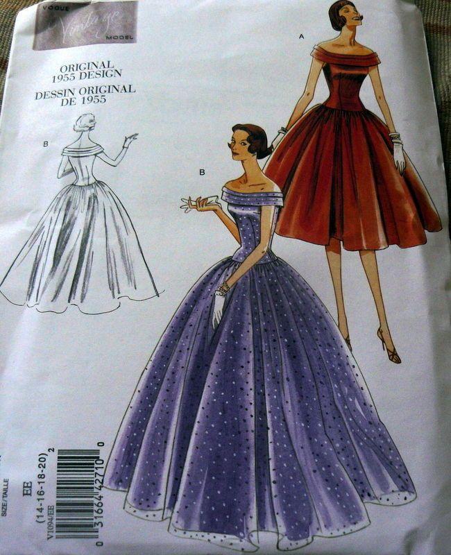 1950s VOGUE VINTAGE MODEL EVENING DRESS SEWING PATTERN 6-8-10-12 UC