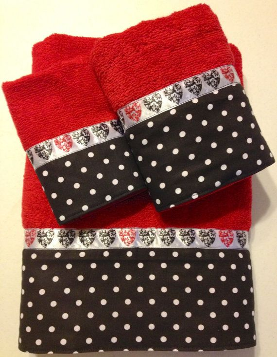 Hearts and Polka Dots Bath Towel Set by www.ladydiblankets.etsy.com, $59.99