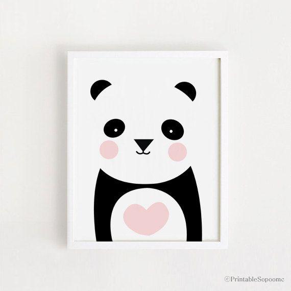 Poster bebe INSTANT DOWNLOAD Cute Panda graphic printable art Heart Panda Bear animal illustration Kawaii baby room art print nursery art