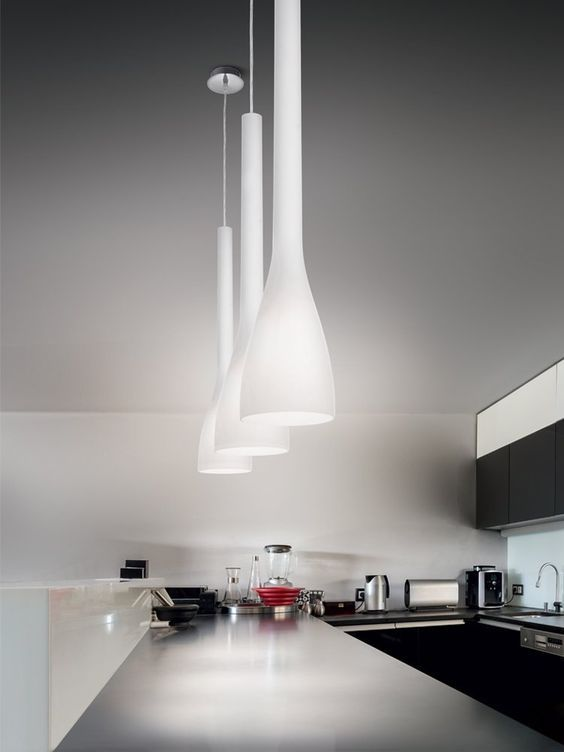 stunning white glass pendants 65.5cm long. also available in Red or Black