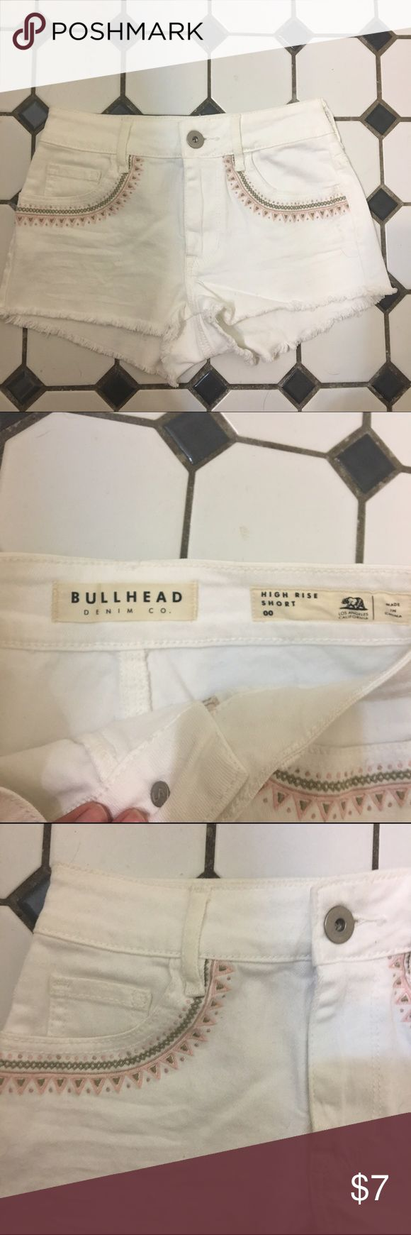 Pacsun bullhead high rise shorts White Pacsun high waisted shorts from bullhead. Size 00. Has cute pink and army green detailing near pockets. Never worn they are just too small for me. Selling cheap trying to get some extra money for my new room Bullhead Shorts Jean Shorts