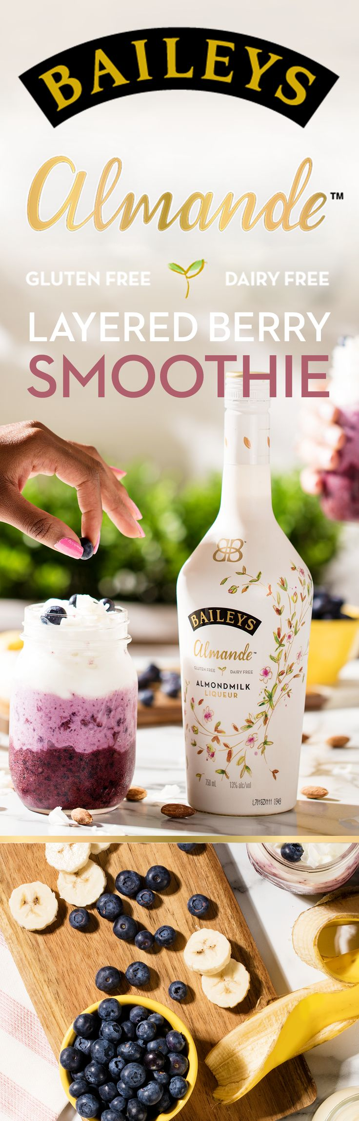 Take a summer staycation with the triple layered berry smoothie, made with our dairy free, gluten free, and vegan almondmilk liqueur. Bottom layer: blend 1.5 oz. Baileys Almande, 1/2 cup dairy free greek yogurt, and 1 cup frozen blueberries. Middle layer: http://juicymaker.com/