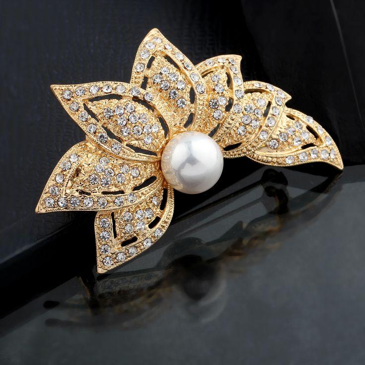 Nieuwe mode crystal broche strass sieraden bruids zeven bloemen broche pin prachtige boeket broche vriendin gift